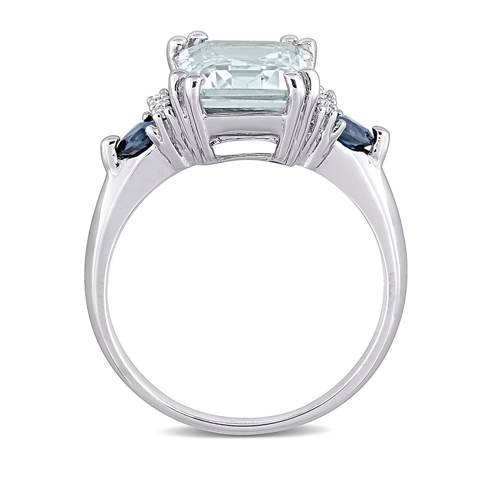 3 1/3 CT. T.G.W. Aquamarine & Sapphire Ring in Sterling Silver with Diamonds - 1