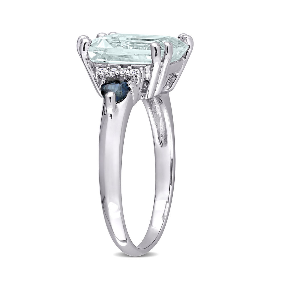 3 1/3 CT. T.G.W. Aquamarine & Sapphire Ring in Sterling Silver with Diamonds - 2