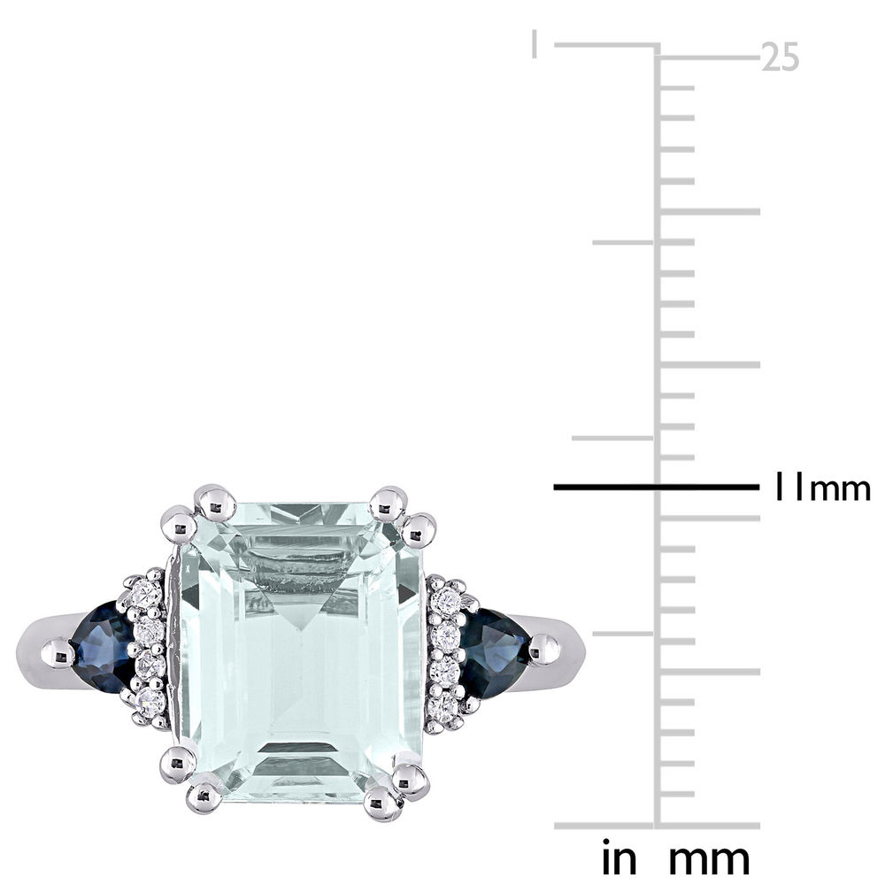 3 1/3 CT. T.G.W. Aquamarine & Sapphire Ring in Sterling Silver with Diamonds - 5