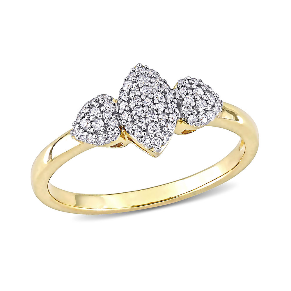 1/5 CT. T.W. Diamond Marquise Ring in Gold Plated Sterling Silver