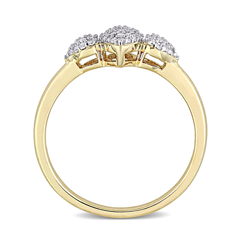 1/5 CT. T.W. Diamond Marquise Ring in Gold Plated Sterling Silver - 2