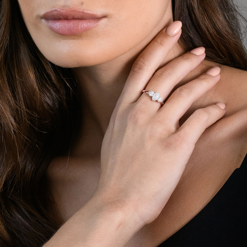 1/5 CT. T.W. Diamond Marquise Ring in Rose Gold Plated Sterling Silver - 3