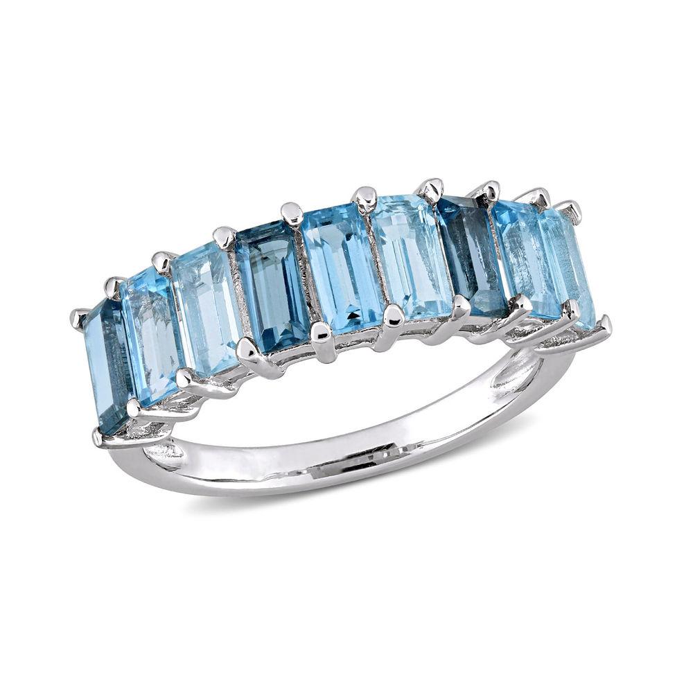 Baguette Ring with 3-Tones Blue Topaz Gemstones in Sterling Silver