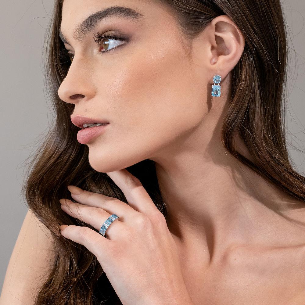Baguette Ring with 3-Tones Blue Topaz Gemstones in Sterling Silver - 3