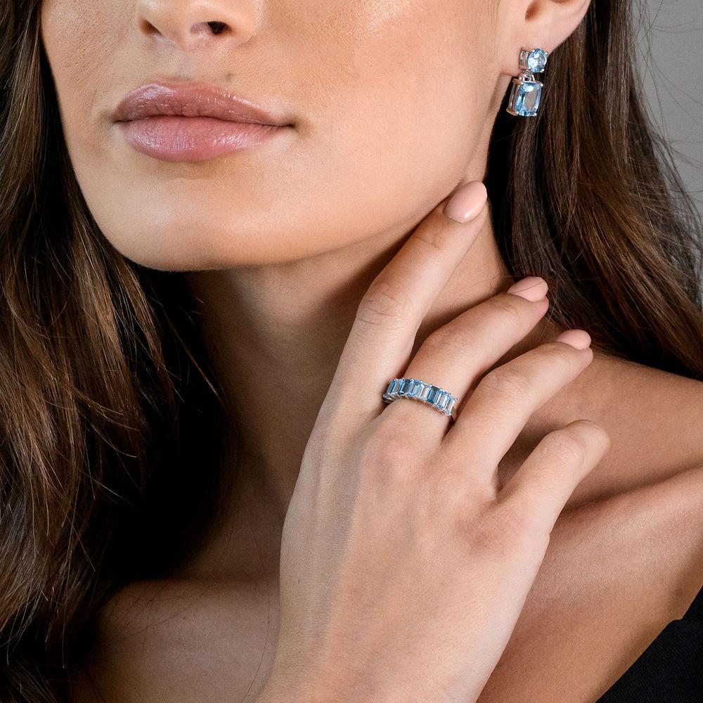 Baguette Ring with 3-Tones Blue Topaz Gemstones in Sterling Silver - 4