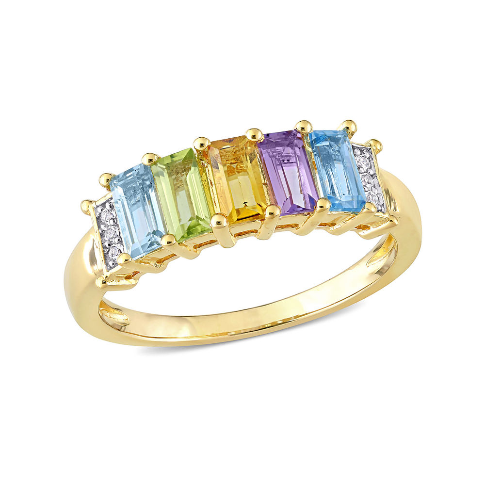 Baguette Ring with Multi-Gemstones in Gold Plated Sterling Silver