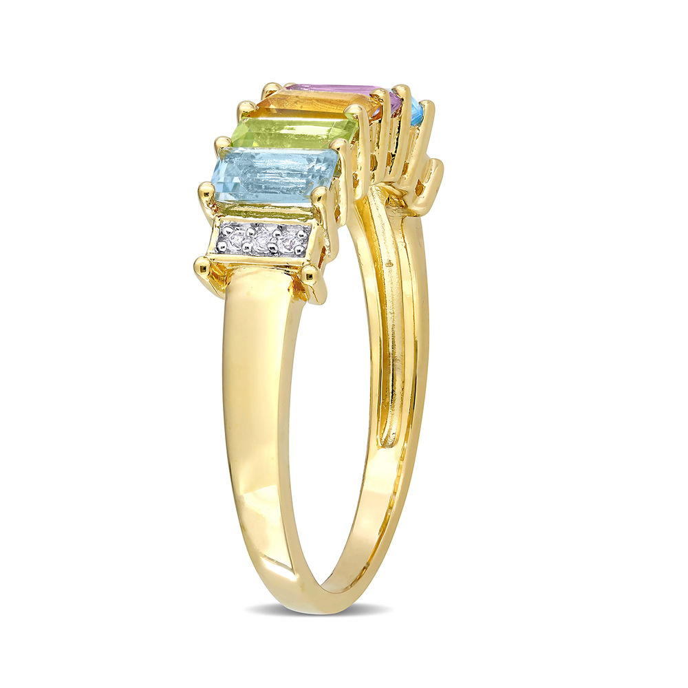 Baguette Ring with Multi-Gemstones in Gold Plated Sterling Silver - 1