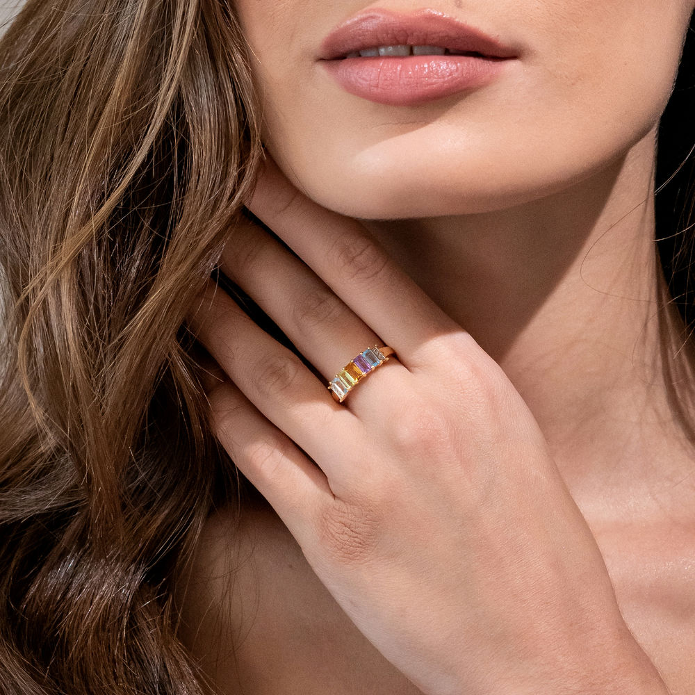 Baguette Ring with Multi-Gemstones in Gold Plated Sterling Silver - 2