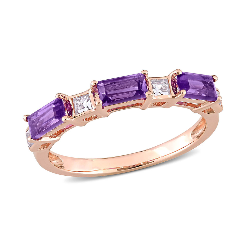 Baguette Ring with Amethyst and White Topaz Gemstones in 10k Rose Gold
