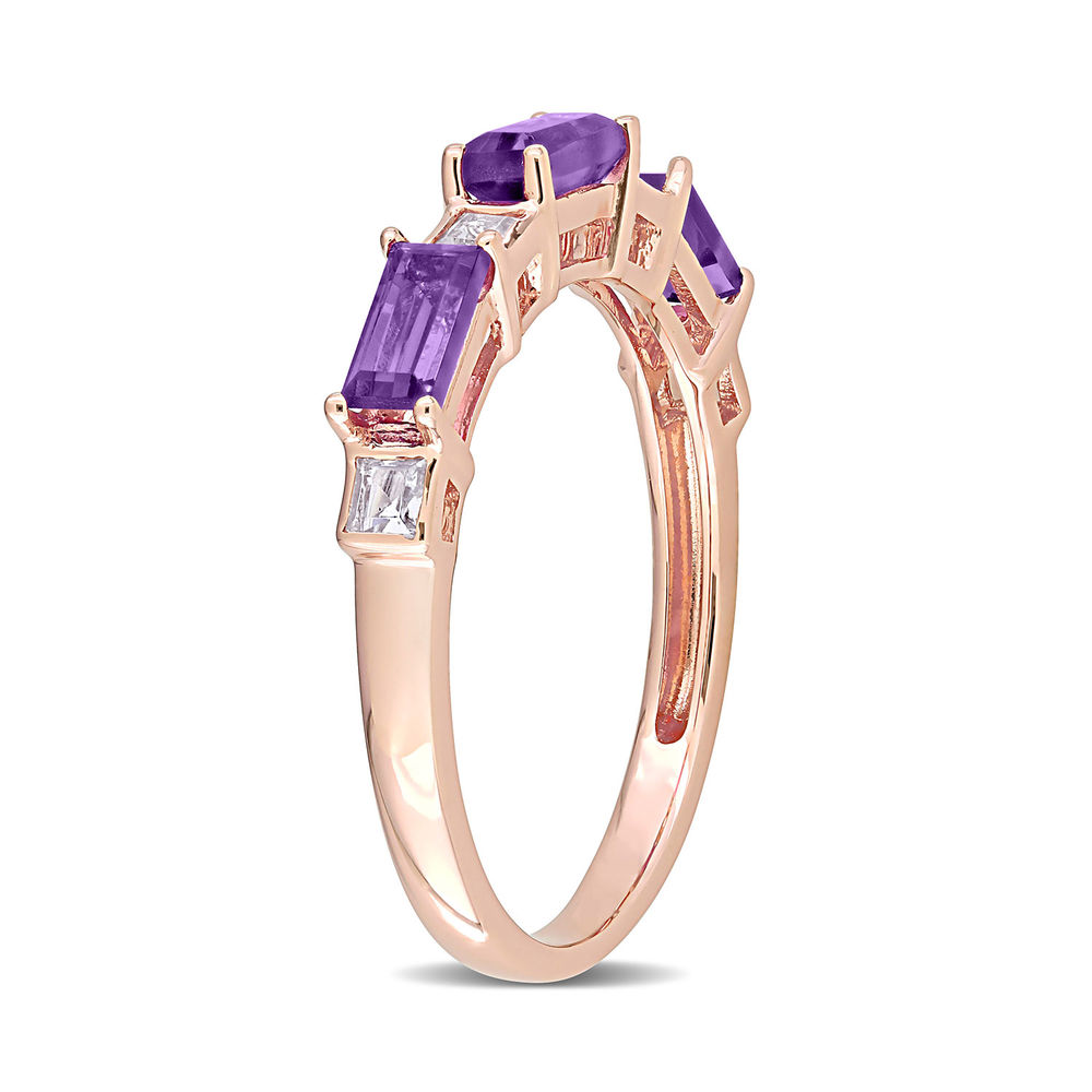 Baguette Ring with Amethyst and White Topaz Gemstones in 10k Rose Gold - 1