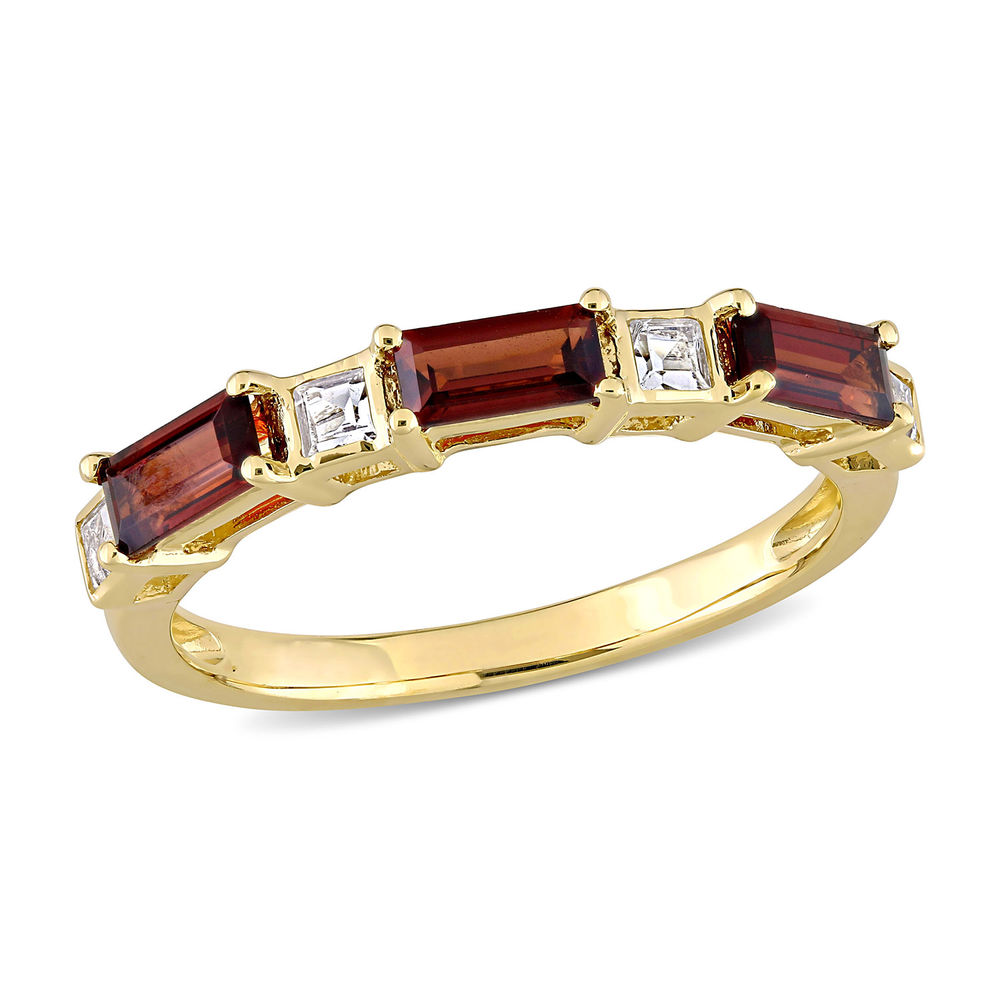 Baguette Ring with Garnet and White Topaz Gemstones in 10k Yellow Gold