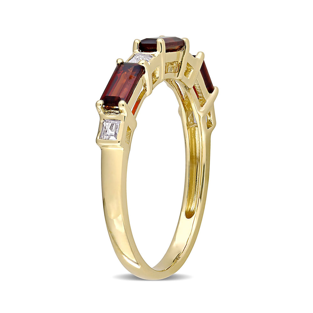 Baguette Ring with Garnet and White Topaz Gemstones in 10k Yellow Gold - 1