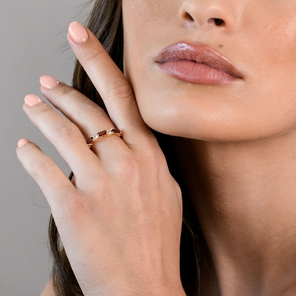Baguette Ring with Garnet and White Topaz Gemstones in 10k Yellow Gold - 2