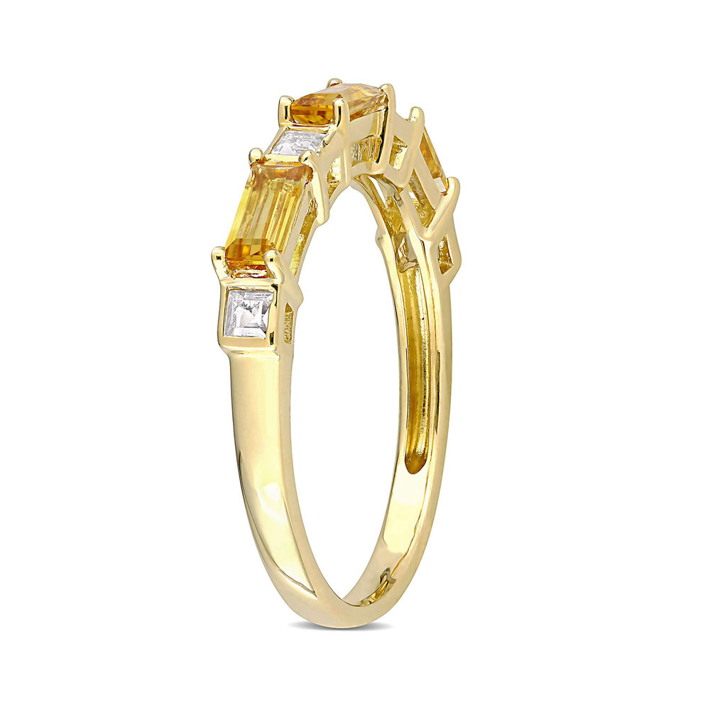 Baguette Ring with Citrine and White Topaz Gemstones in 10k Yellow Gold - 1