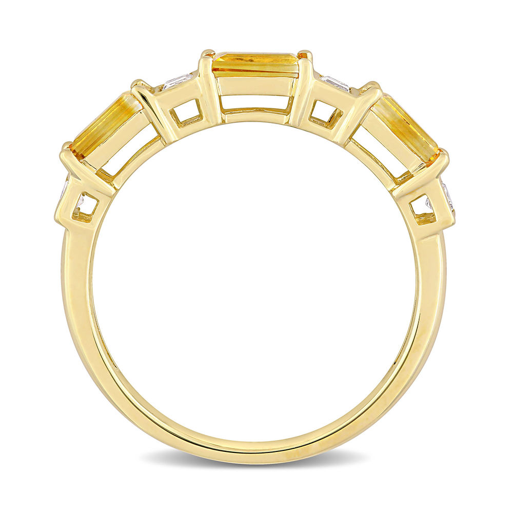 Baguette Ring with Citrine and White Topaz Gemstones in 10k Yellow Gold - 2