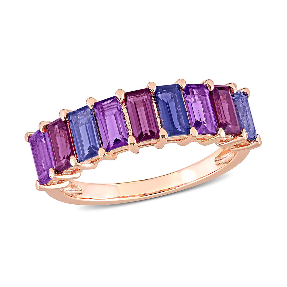 Baguette Ring with Amethyst, Rhodolite and Iolite Gemstones in Rose Gold Plated Sterling Silver