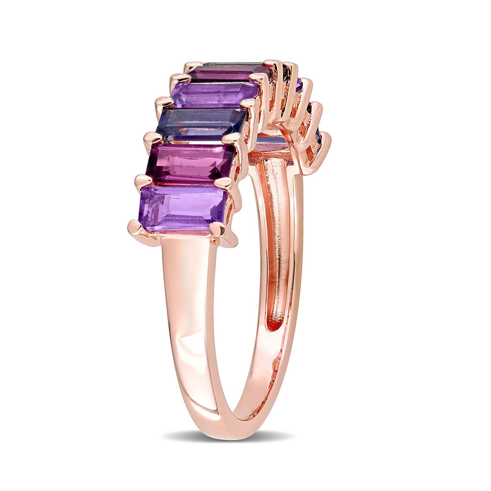 Baguette Ring with Amethyst, Rhodolite and Iolite Gemstones in Rose Gold Plated Sterling Silver - 1