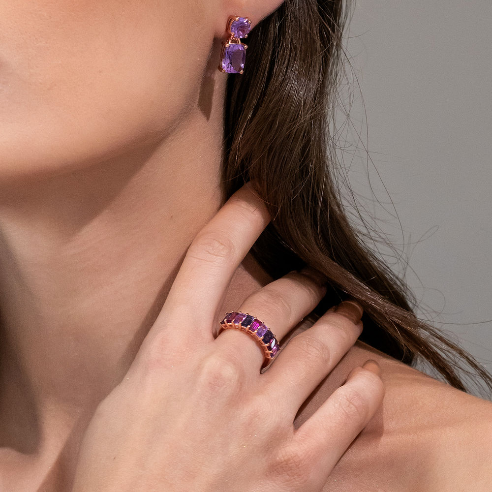 Baguette Ring with Amethyst, Rhodolite and Iolite Gemstones in Rose Gold Plated Sterling Silver - 2