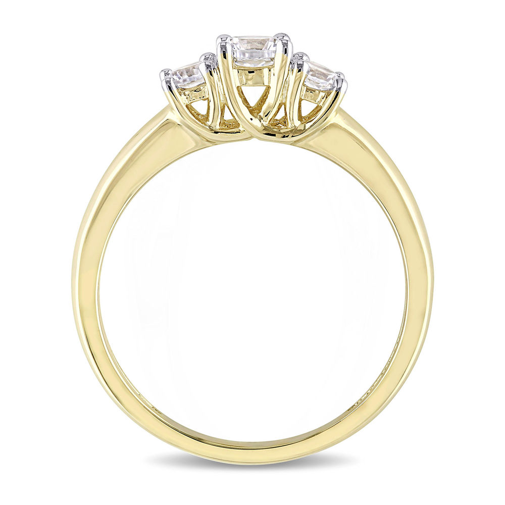 5/8 C.T T.G.W. Lab-grown White Sapphire 3-Stone Ring in 10K Yellow Gold - 2