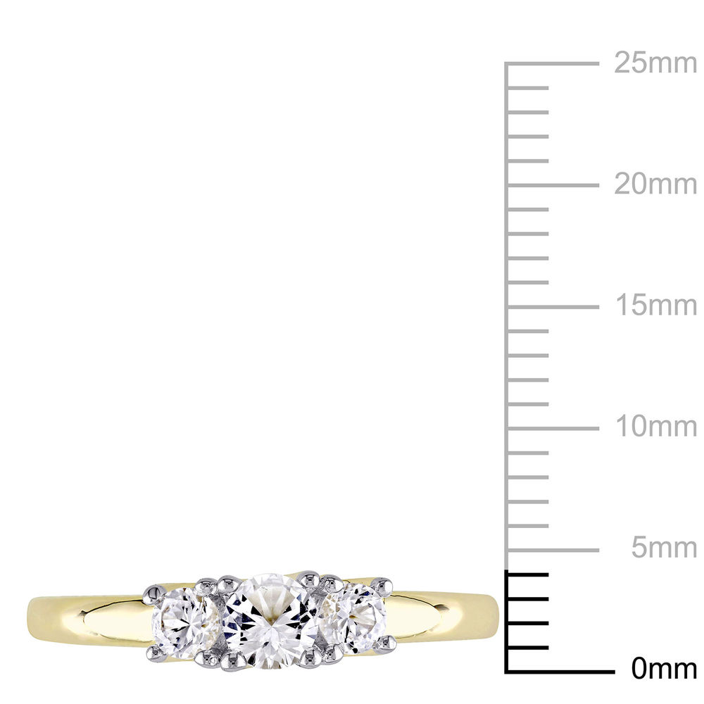 5/8 C.T T.G.W. Lab-grown White Sapphire 3-Stone Ring in 10K Yellow Gold - 4