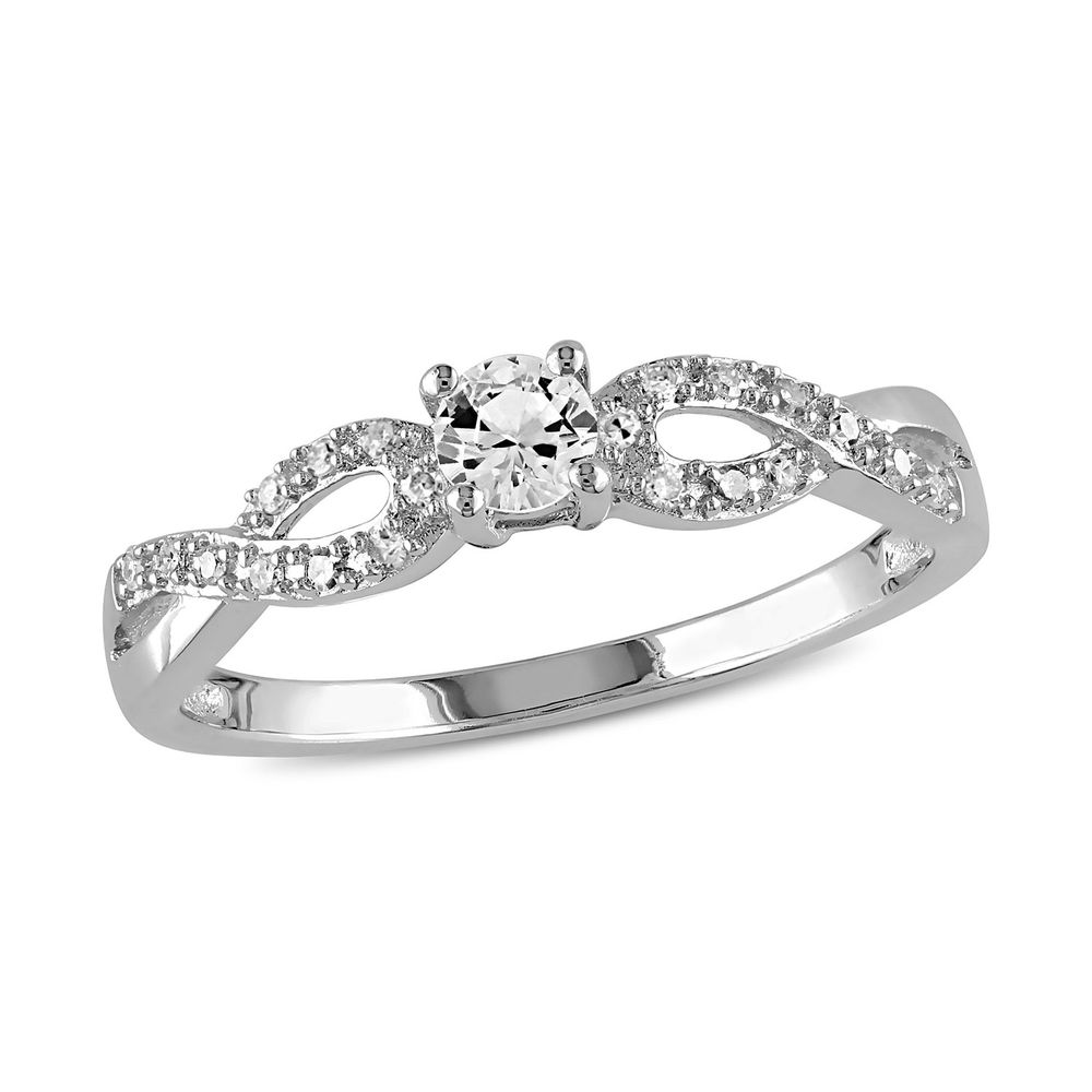 1/10 C.T T.W. Diamond and 1/4 C.T T.G.W. Lab-grown White Sapphire Ring in Sterling Silver