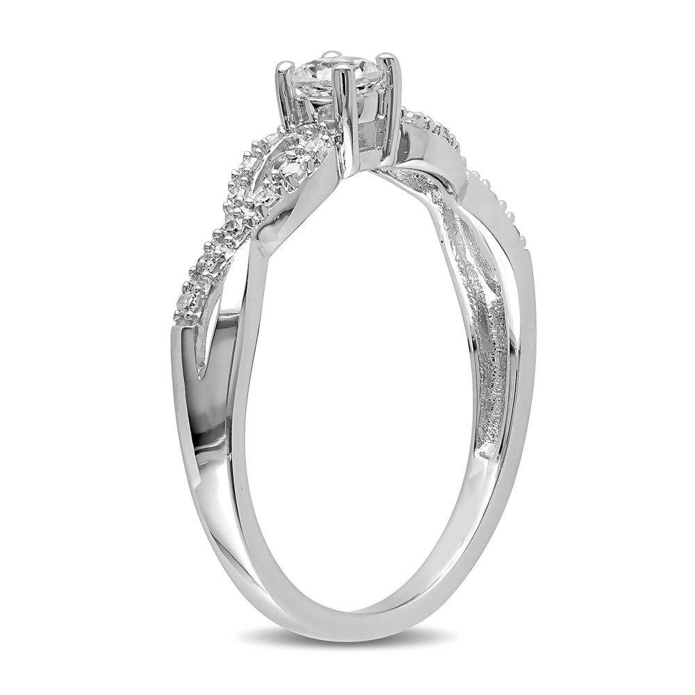 1/10 C.T T.W. Diamond and 1/4 C.T T.G.W. Lab-grown White Sapphire Ring in Sterling Silver - 1