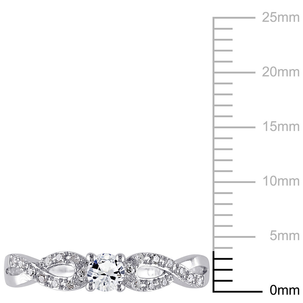 1/10 C.T T.W. Diamond and 1/4 C.T T.G.W. Lab-grown White Sapphire Ring in Sterling Silver - 4