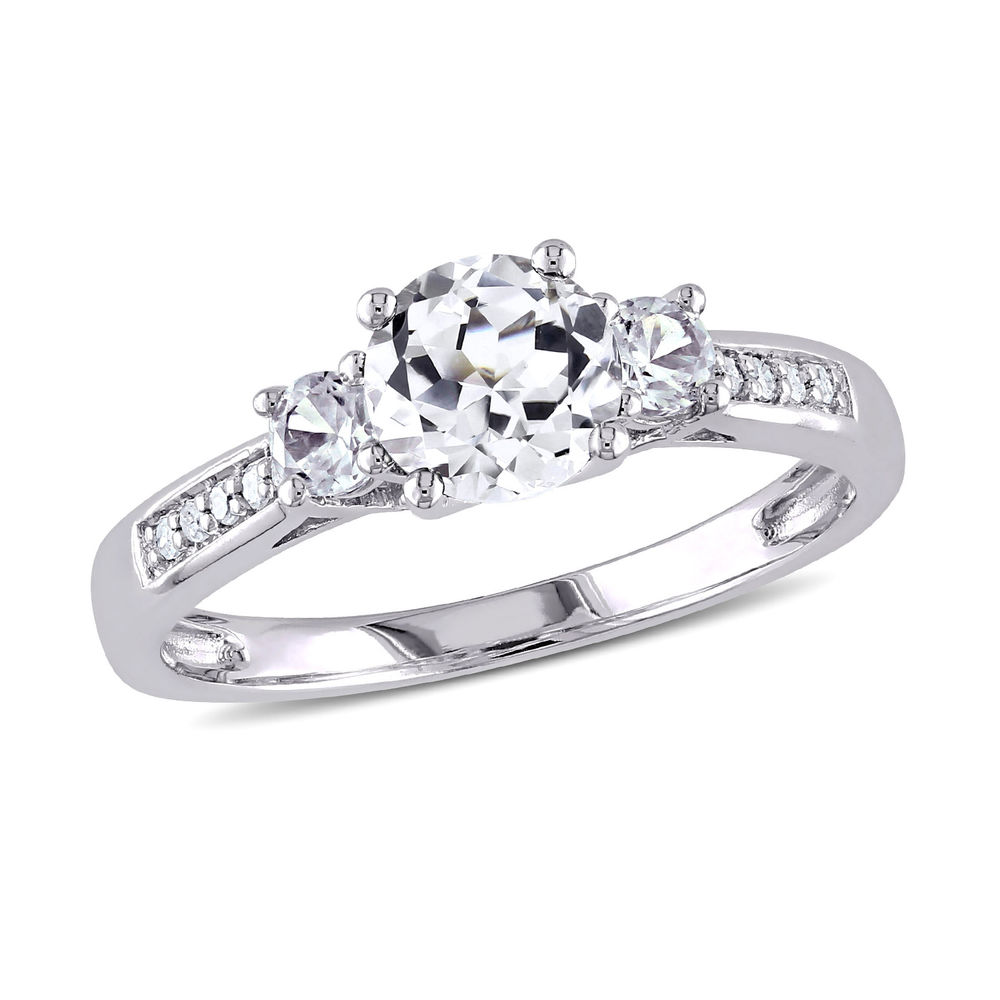 0.05 C.T T.W. Diamond and 1 1/3 C.T T.G.W. Lab-grown White Sapphire 3-Stone Ring in 10K White Gold
