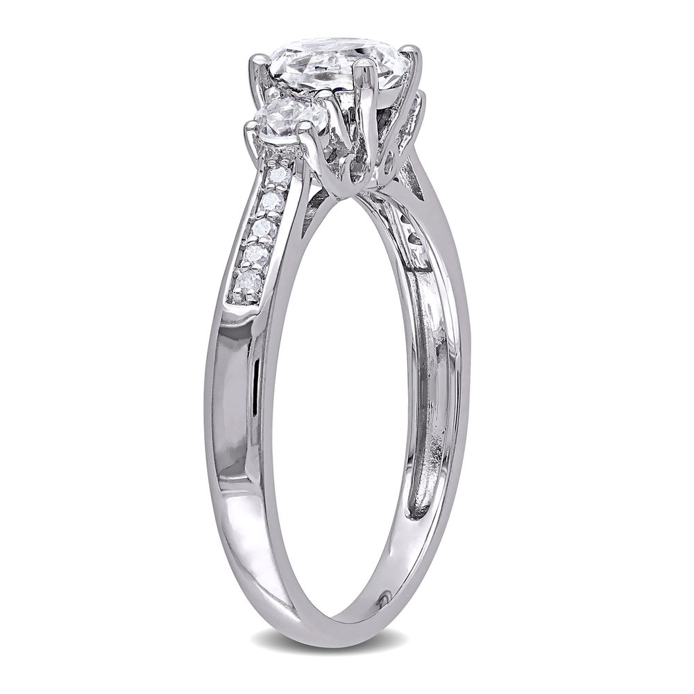 0.05 C.T T.W. Diamond and 1 1/3 C.T T.G.W. Lab-grown White Sapphire 3-Stone Ring in 10K White Gold - 1