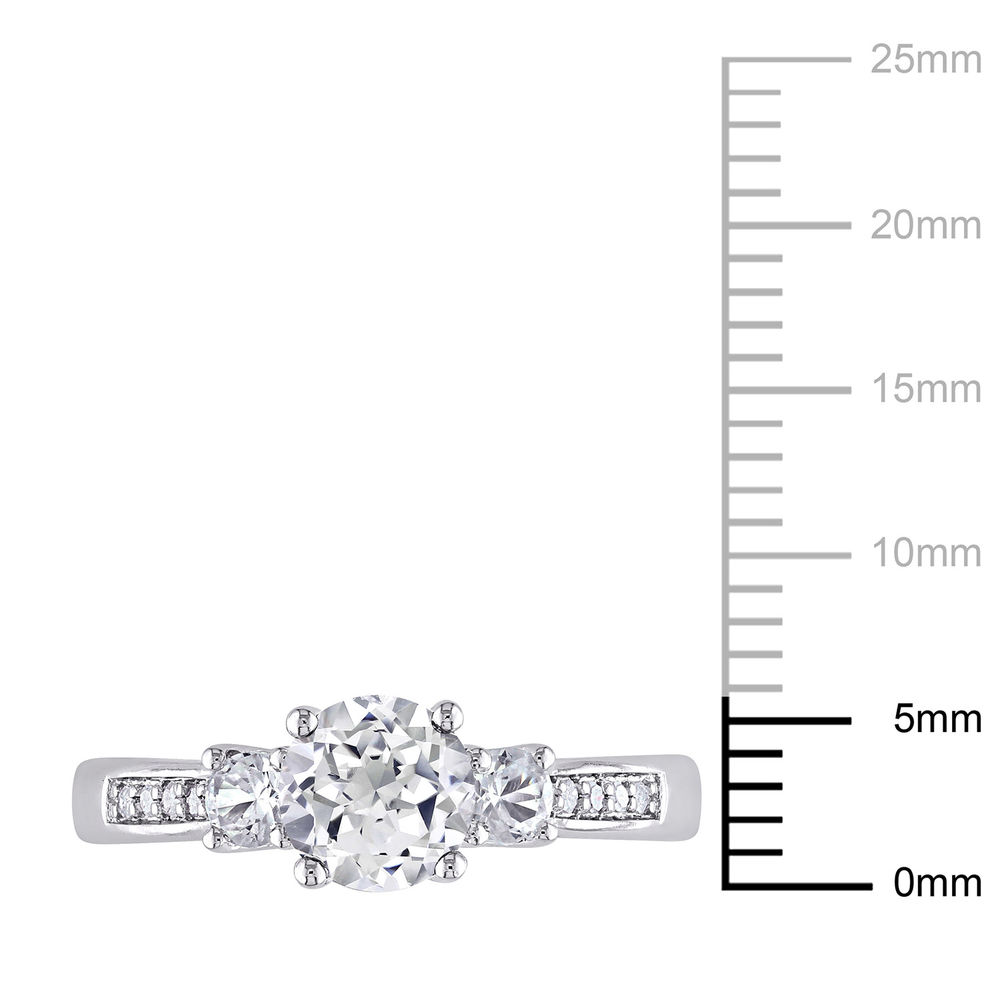 0.05 C.T T.W. Diamond and 1 1/3 C.T T.G.W. Lab-grown White Sapphire 3-Stone Ring in 10K White Gold - 3