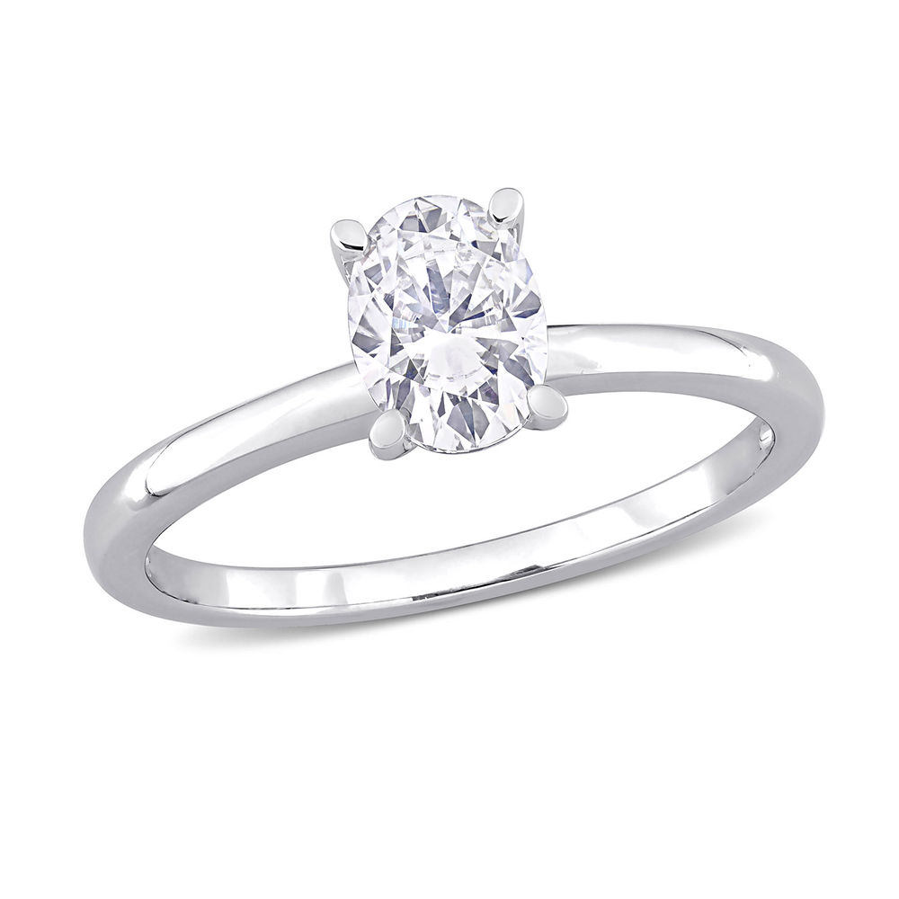 1 C.T T.G.W. Moissanite Oval-cut Ring in Sterling Silver