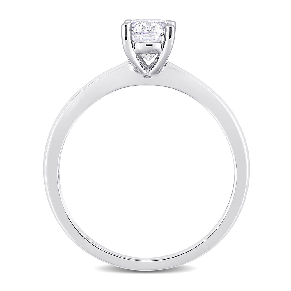 1 C.T T.G.W. Moissanite Oval-cut Ring in Sterling Silver - 2