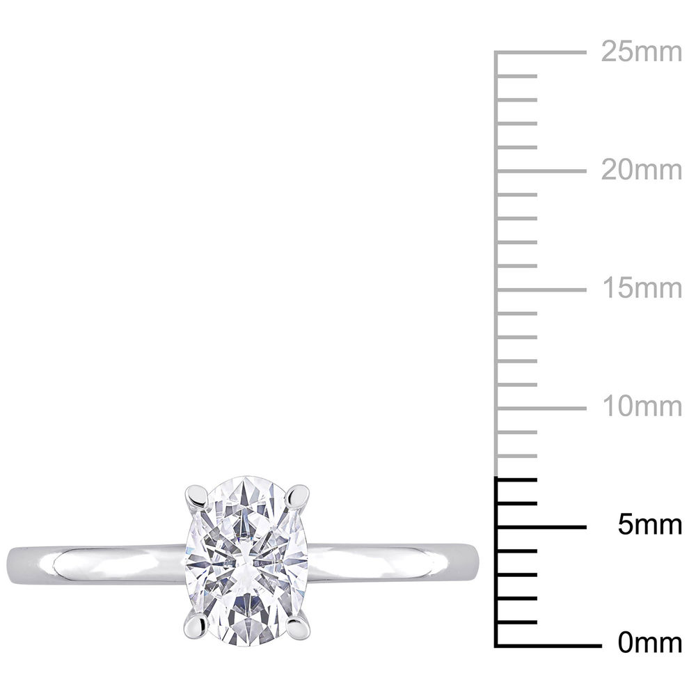 1 C.T T.G.W. Moissanite Oval-cut Ring in Sterling Silver - 3