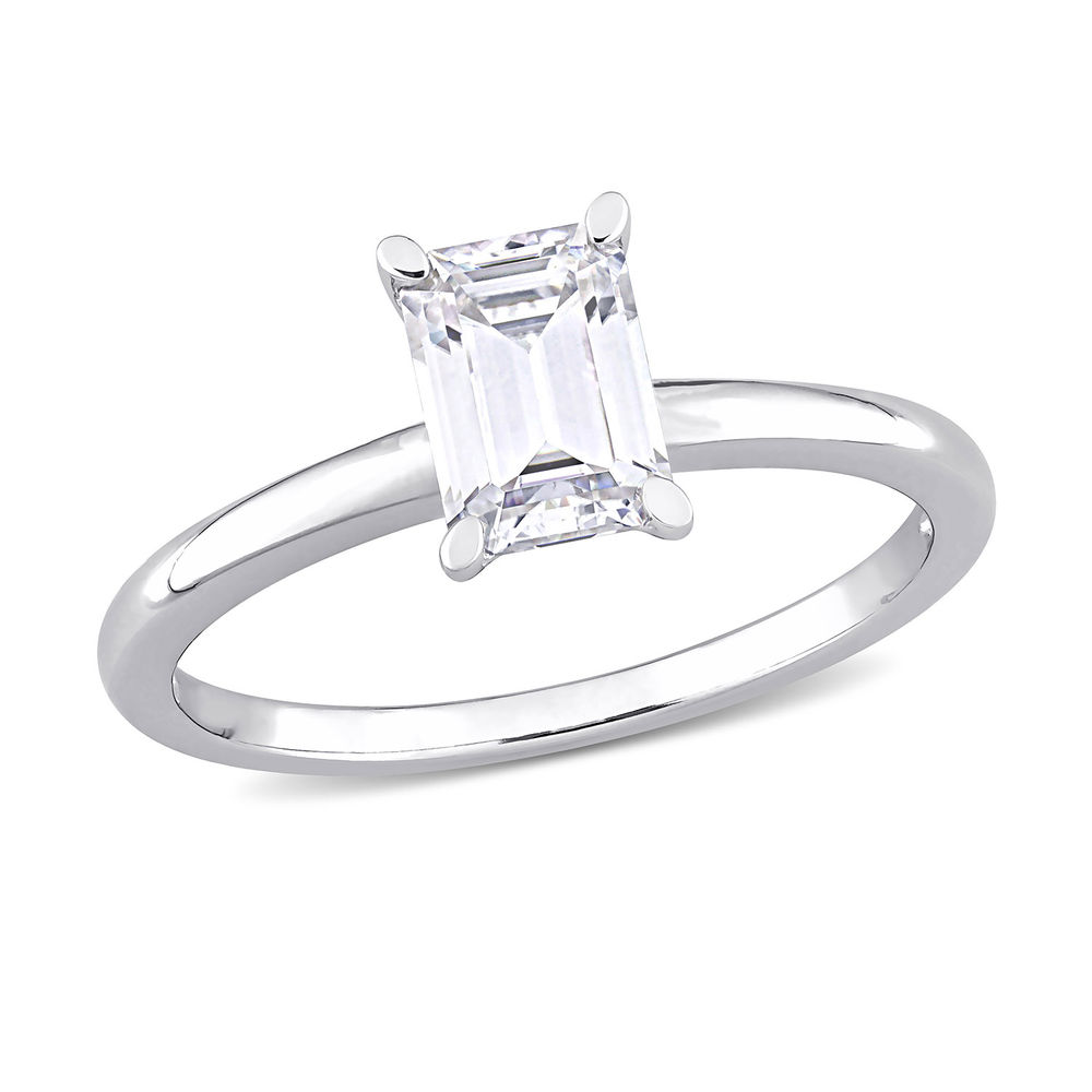 1 C.T T.G.W. Moissanite Octagon-cut Ring in Sterling Silver
