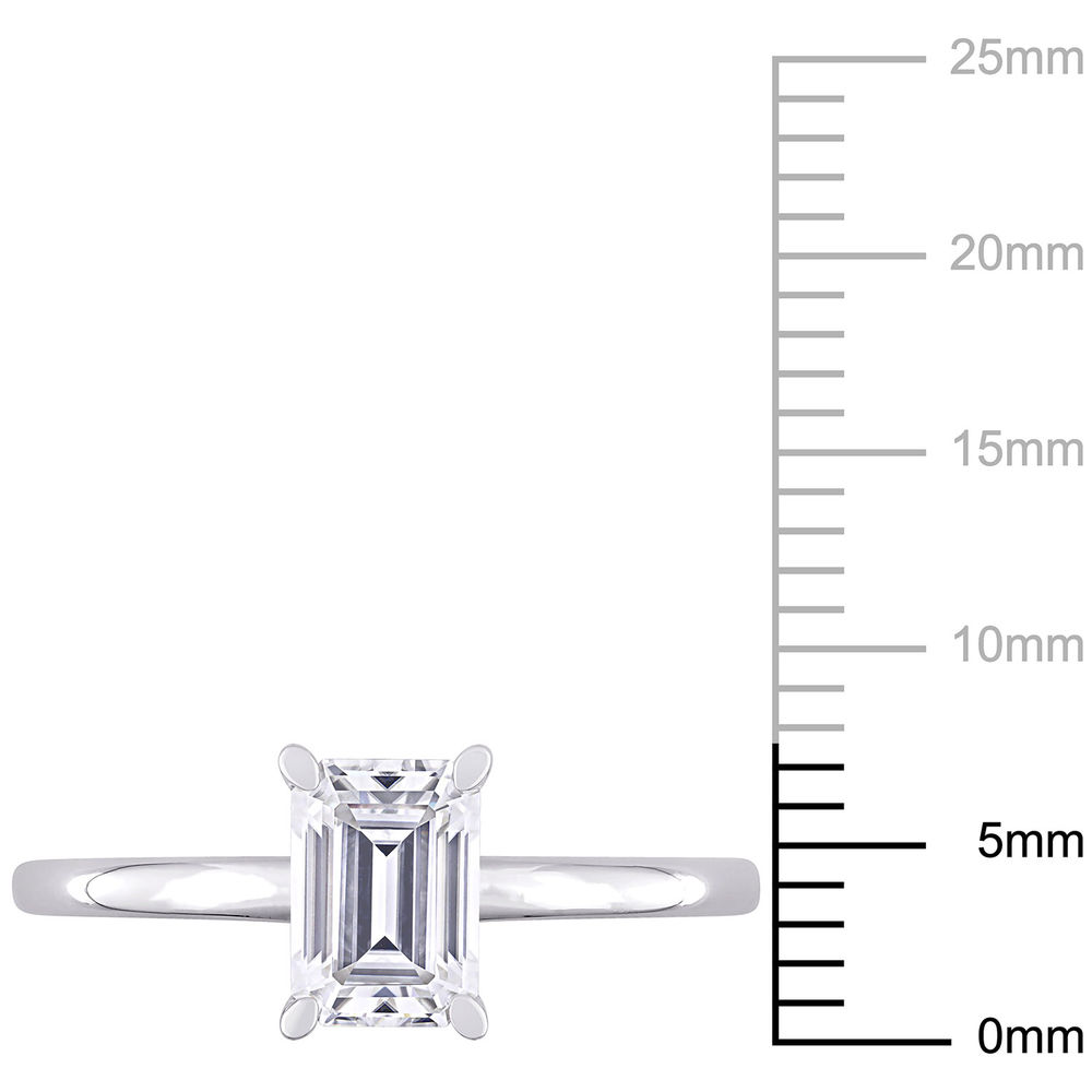 1 C.T T.G.W. Moissanite Octagon-cut Ring in Sterling Silver - 4