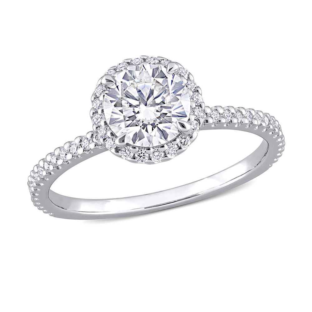 1 1/4 C.T T.G.W. Moissanite Round-cut Ring Sterling Silver