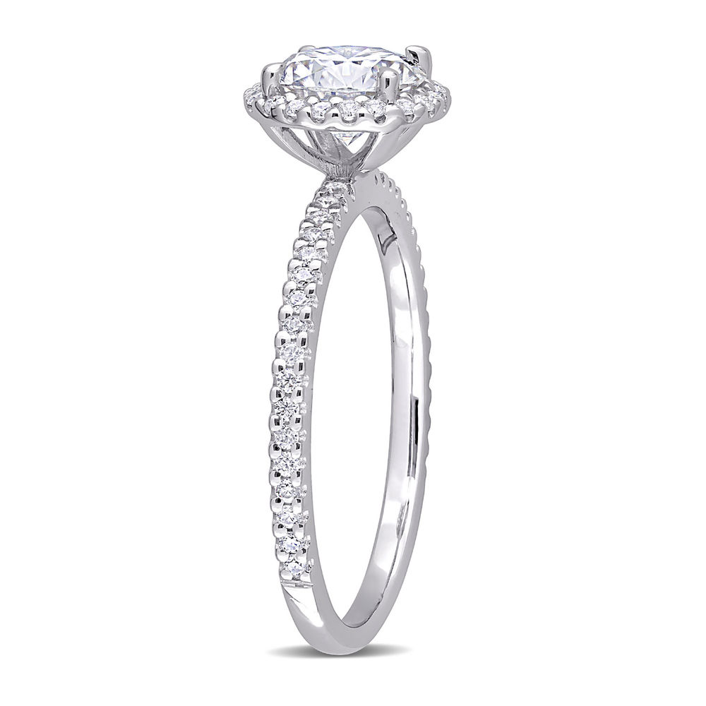 1 1/4 C.T T.G.W. Moissanite Round-cut Ring Sterling Silver - 1