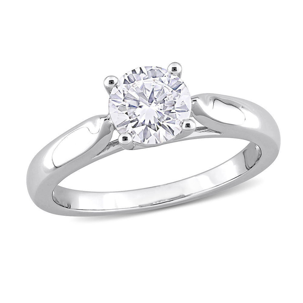 1 C.T T.G.W. Moissanite Solitaire Ring Sterling Silver