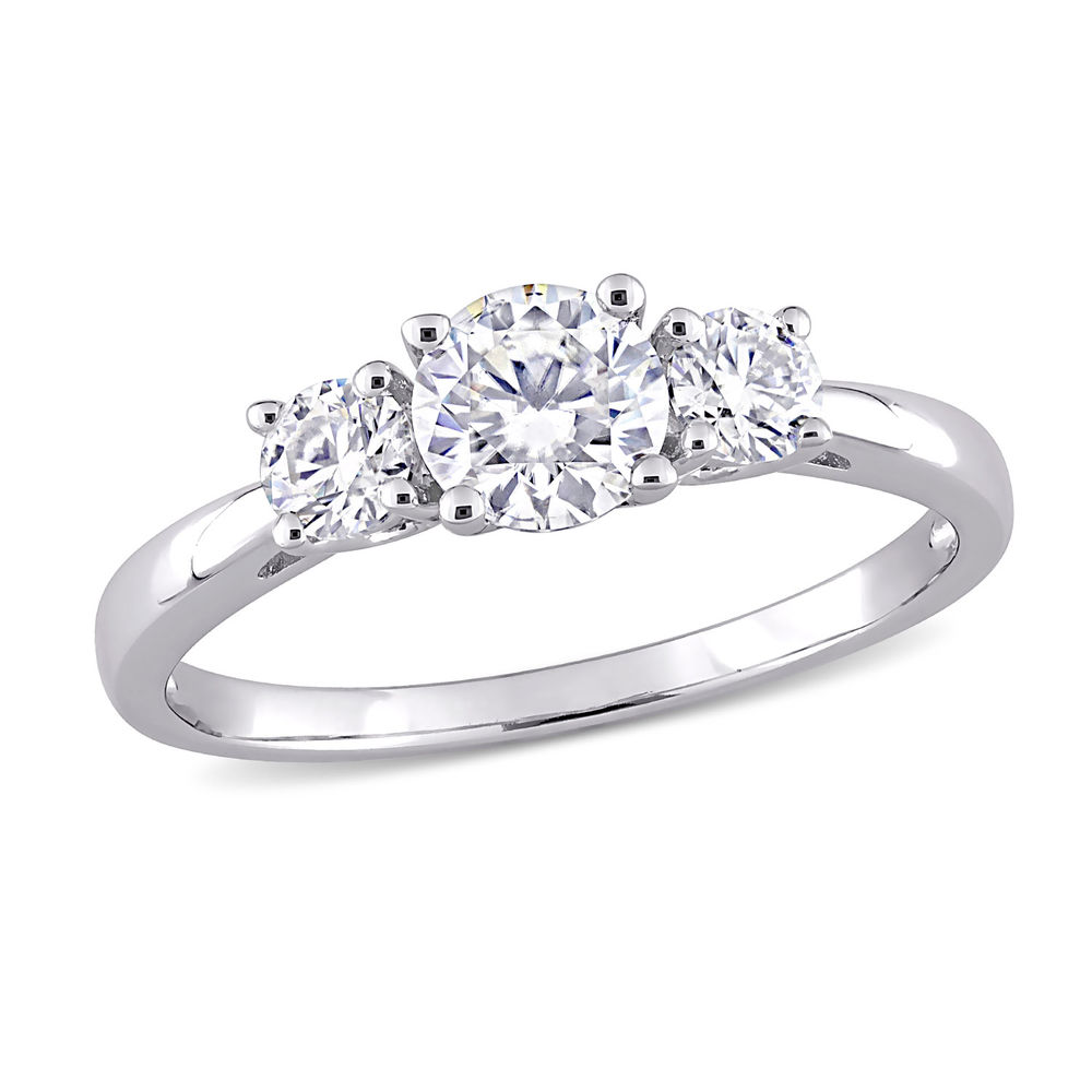 1 C.T T.G.W. Moissanite 3-stone Ring in Sterling Silver