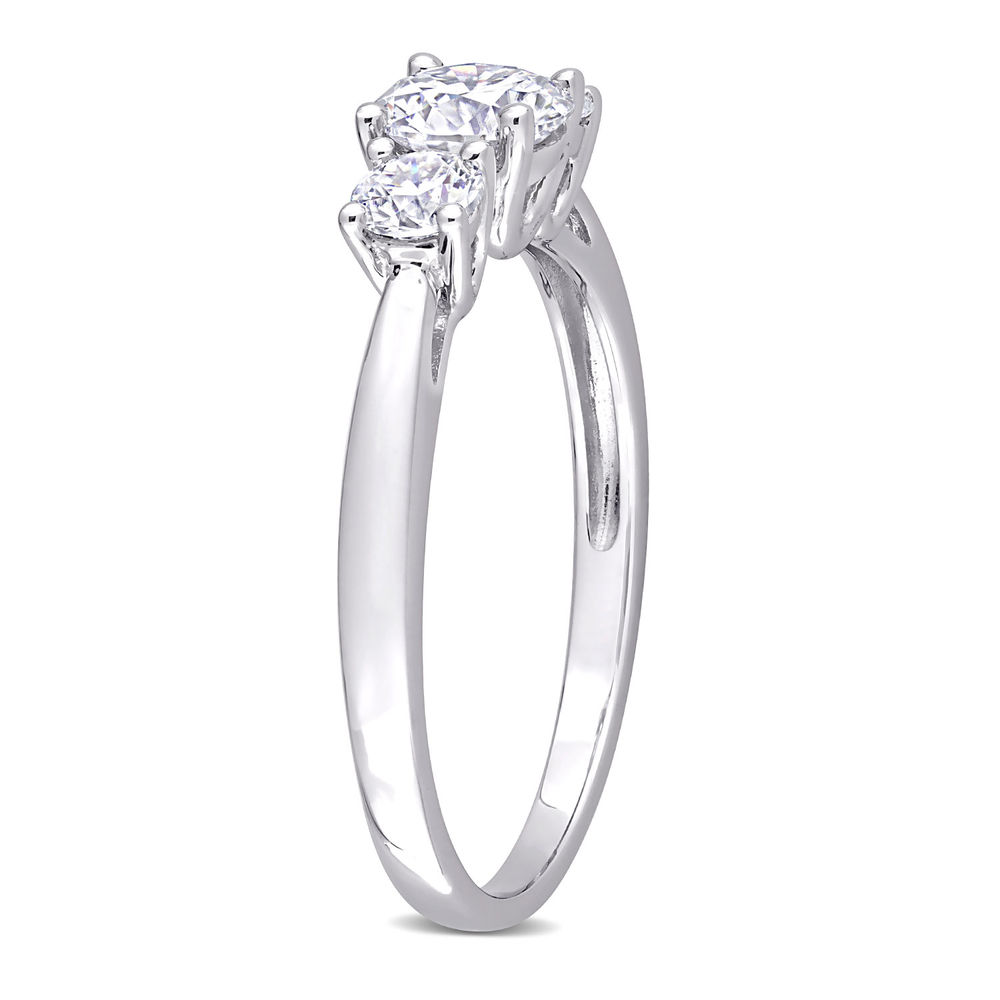 1 C.T T.G.W. Moissanite 3-stone Ring in Sterling Silver - 1