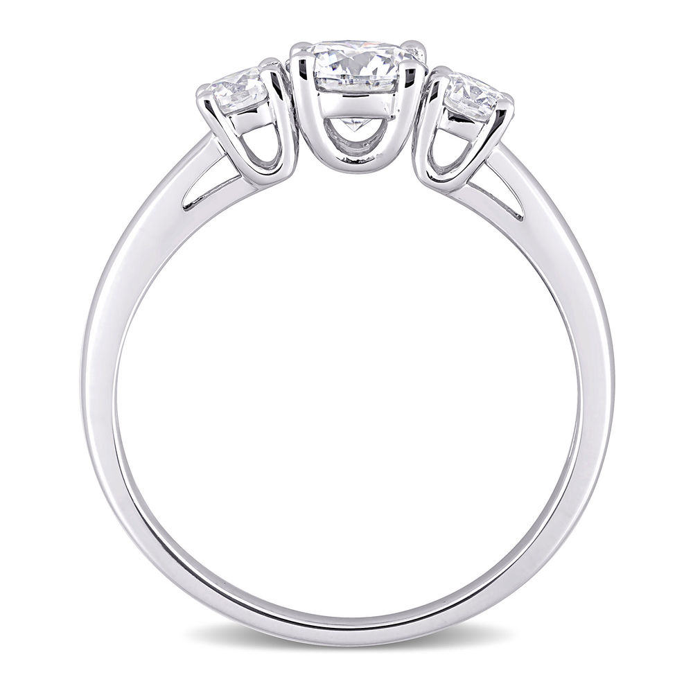 1 C.T T.G.W. Moissanite 3-stone Ring in Sterling Silver - 2