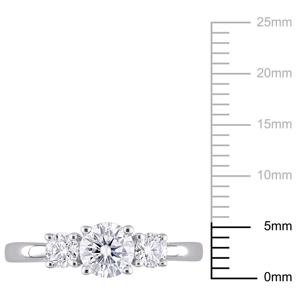 1 C.T T.G.W. Moissanite 3-stone Ring in Sterling Silver - 5