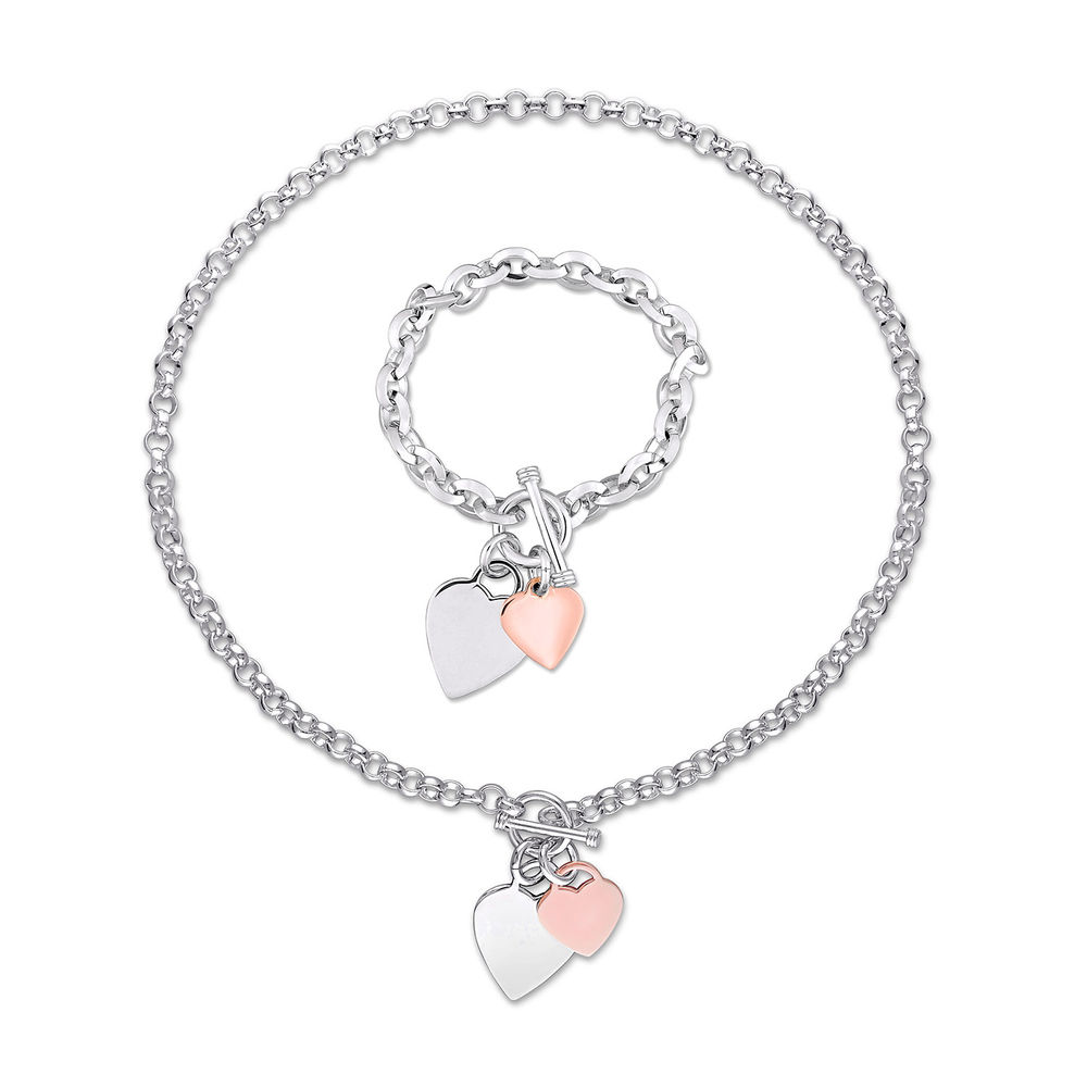 2pc Set of Oval Link Necklace and Bracelet with Sterling Silver and Rose Gold Plated Heart Charms & Toggle Clasp