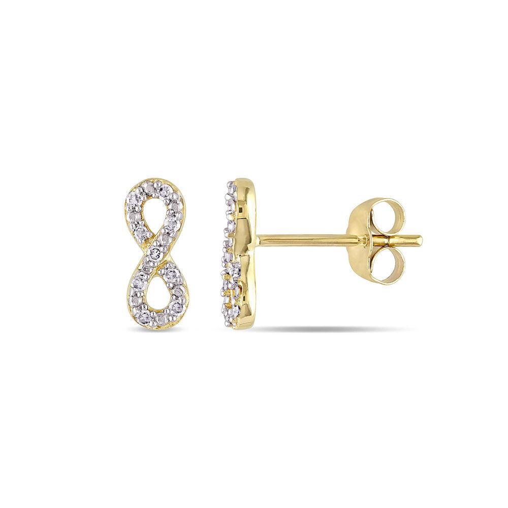 1/10 CT. T.W. Diamond Infinity Stud Earrings in 10k Yellow Gold