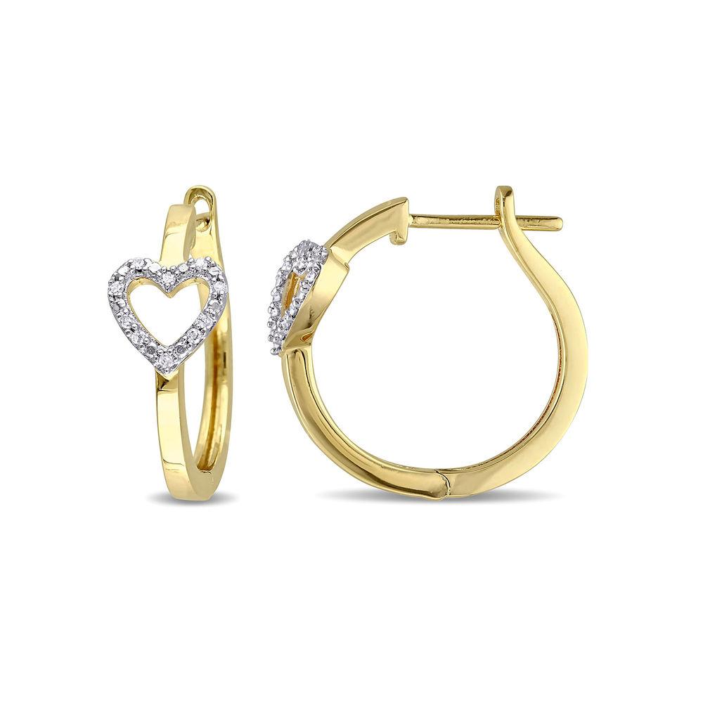1/10 CT. T.W. Diamond Mini Heart Hoop Earrings in Gold Plated Sterling Silver