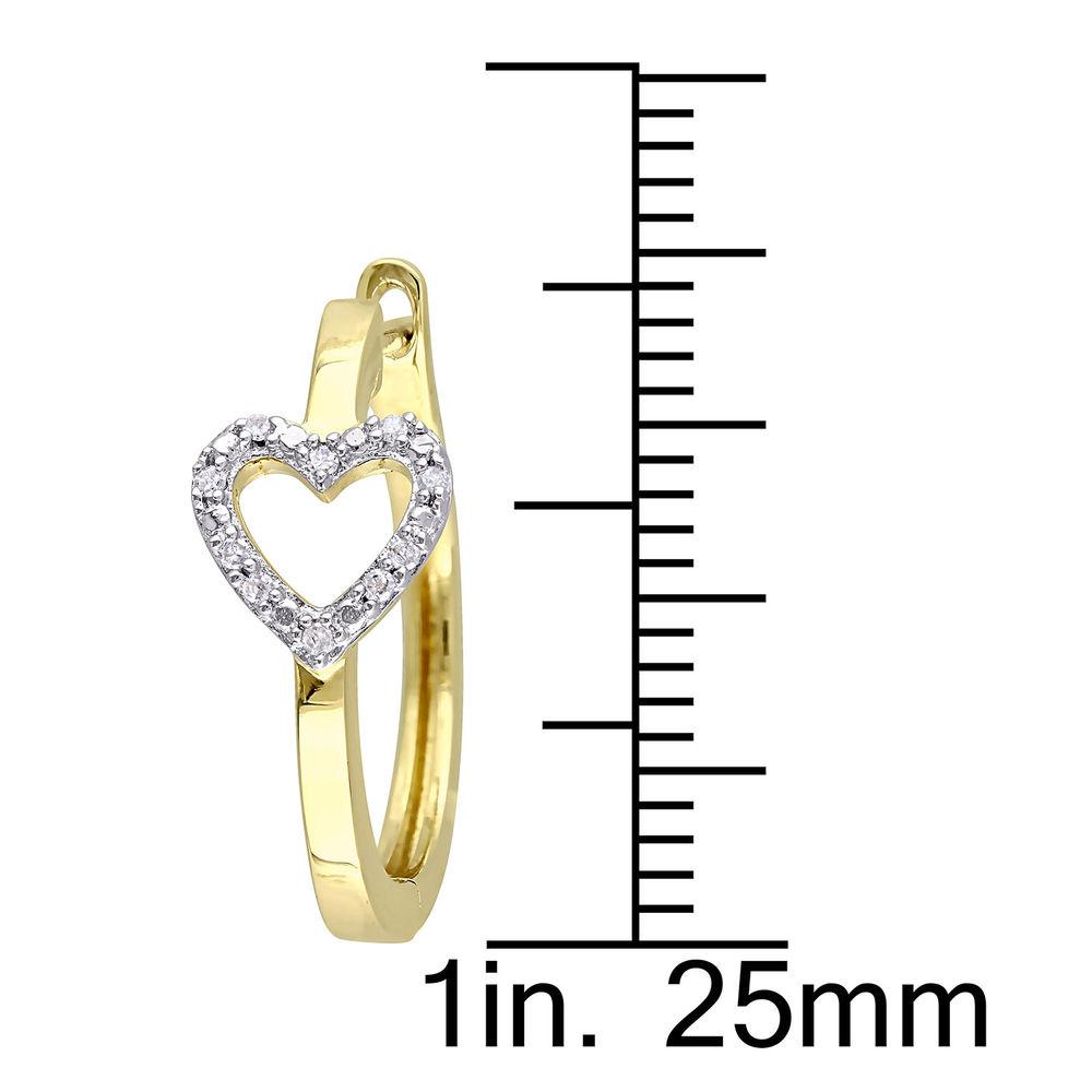1/10 CT. T.W. Diamond Mini Heart Hoop Earrings in Gold Plated Sterling Silver - 3