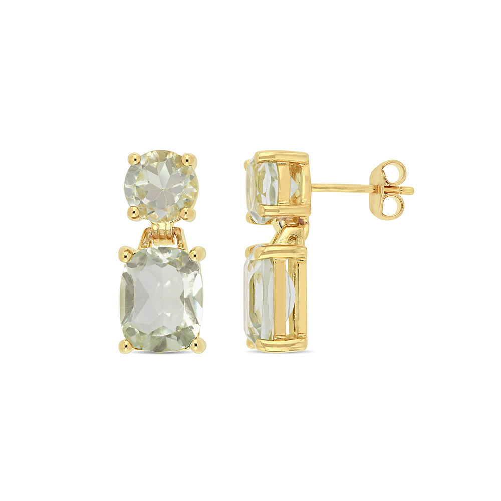 Cushion-Cut and Round Green Quartz Drop Earrings in Gold Plated Sterling Silver