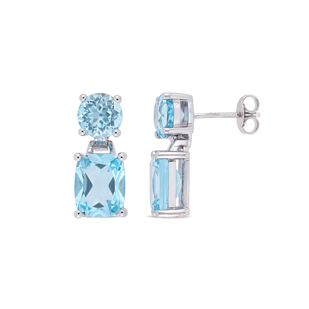 Cushion-Cut and Round Sky Blue Topaz Drop Earrings in Sterling Silver