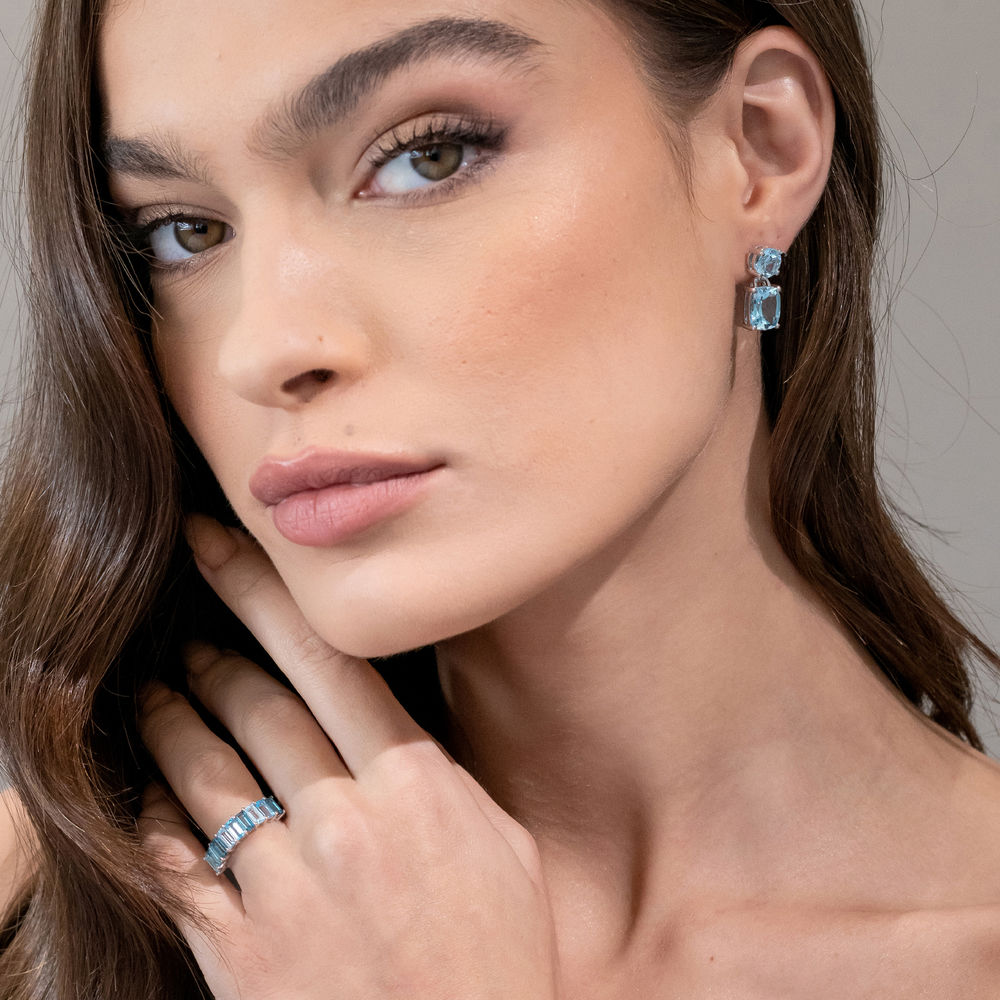 Cushion-Cut and Round Sky Blue Topaz Drop Earrings in Sterling Silver - 1