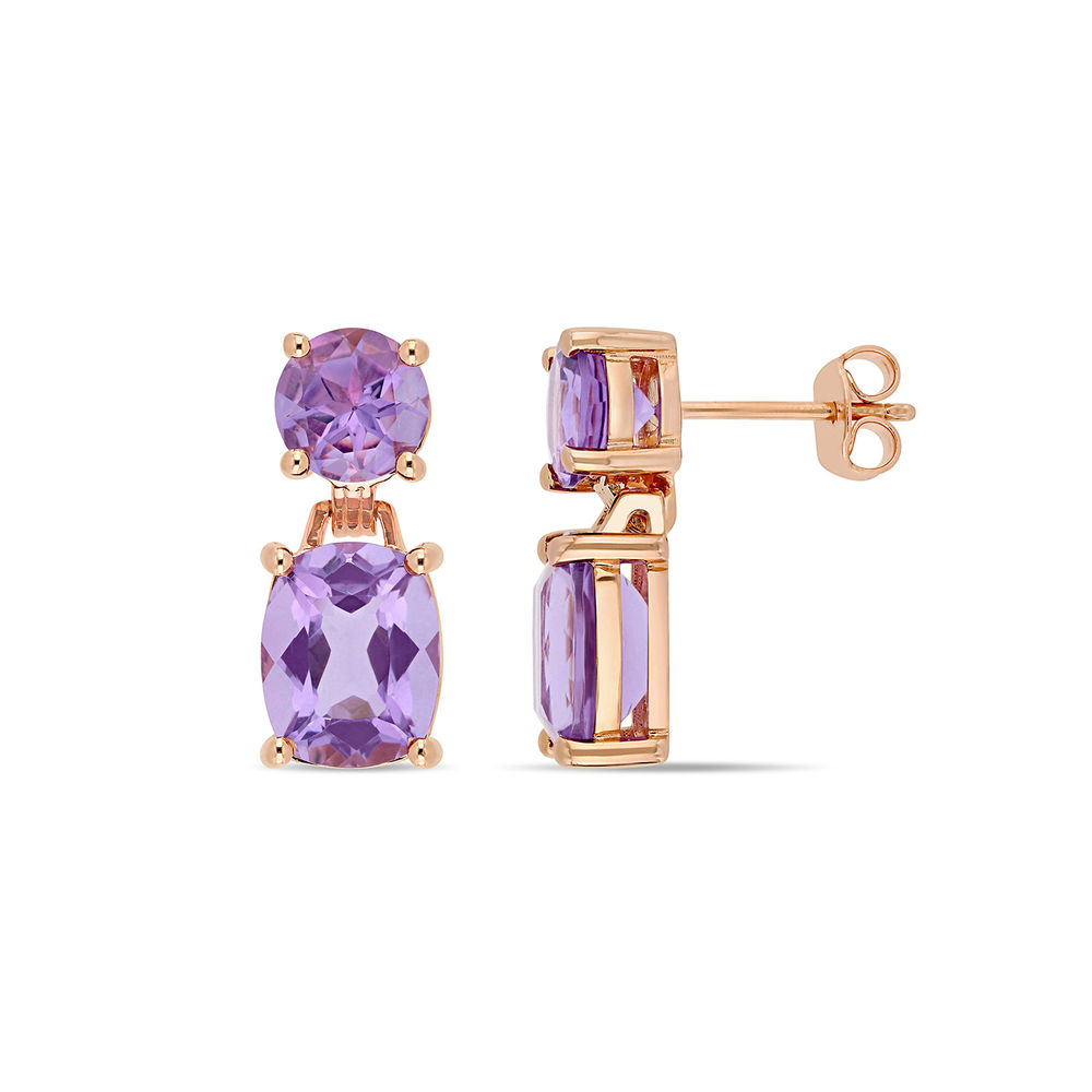 Cushion-Cut and Round Amethyst Drop Earrings in Rose Gold Plated Sterling Silver